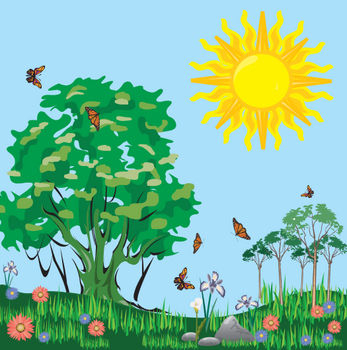 Clipart picture of a meadow full butterflies on sunny day.