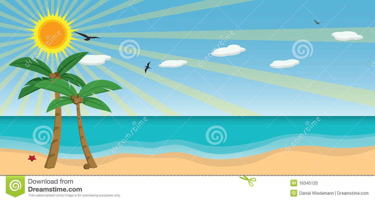 Sunny Day At The Beach Clipart.