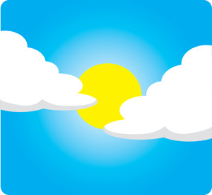 Clip Art Illustration of a Sunny Day With Clouds.