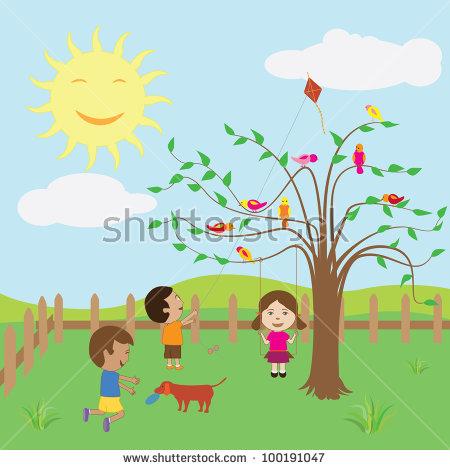 Kids Enjoying Sunny Day Backyard Stock Illustration 100191047.