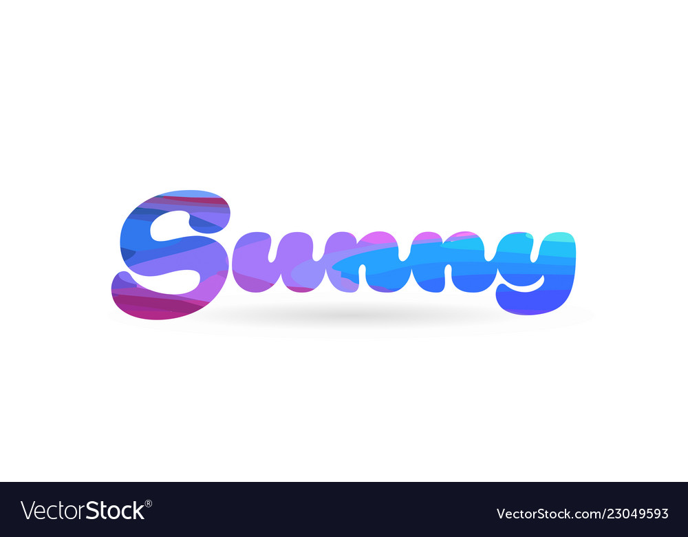 Sunny pink blue color word text logo icon.