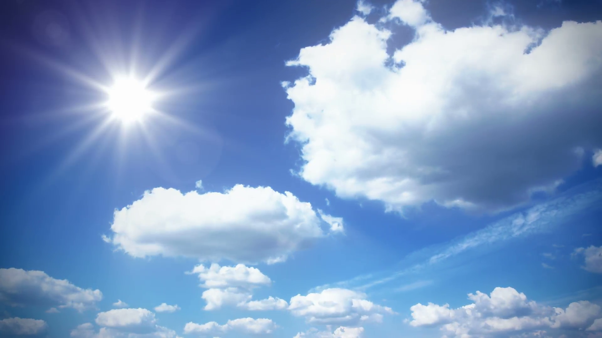 sunny sky with clouds Stock Video Footage.