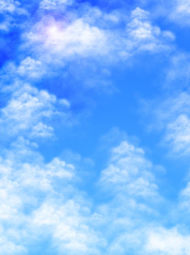 Sunny Sky Blue White Clouds Background, Sunny, Sky, Sunlight.
