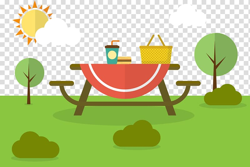 Picnic Family Euclidean Illustration, sunny weather.