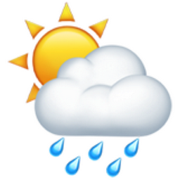 Rain ending, then a few sunny breaks.