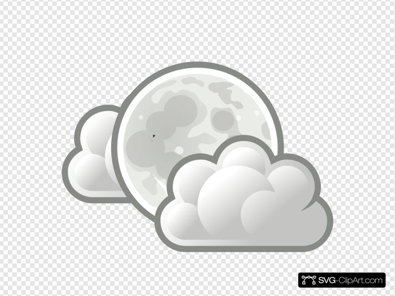 Weather Few Clouds Night Clip art, Icon and SVG.
