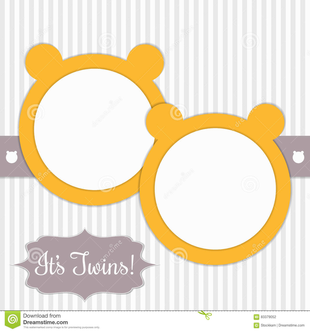 Baby Shower Card With Sunny Yellow Bears And Stripes. It`s Twins.