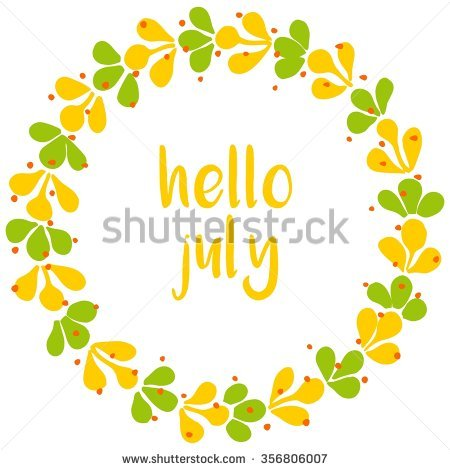 Hello July Wreath Sunny Yellow And Green Card Stock Photo.