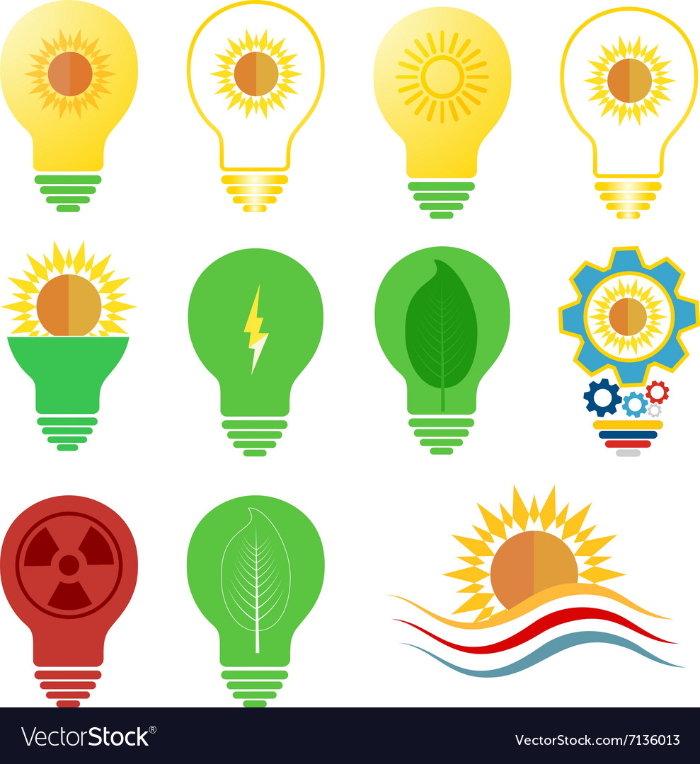 Logo and icons set energy and sun power.