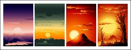 Sunrise and sunset collection Clipart Picture Free Download.