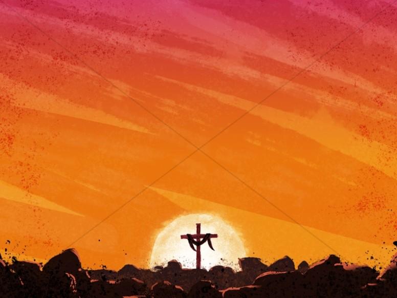 Easter Cross Sunrise Worship Background.
