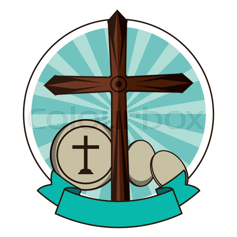 Christian wooden cross with communion.