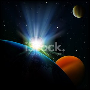 abstract space background with sunrise and planets Clipart.