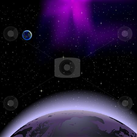 Planet sunrise stock vector.