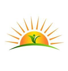 Plant in sunrise logo vector.