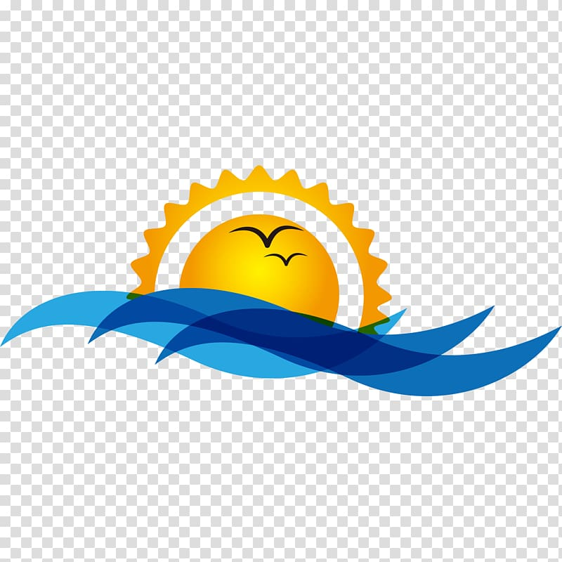 Sun and ocean logo, Bird Sunrise Sunset Wave , Sunrise at.