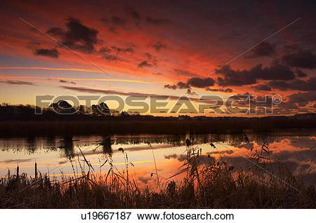 Picture of England, Dorset, Weymouth, Sunrise over Radipole Lakes.