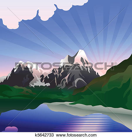 Clipart of Vector landscape with sunrise over the mountain lake.