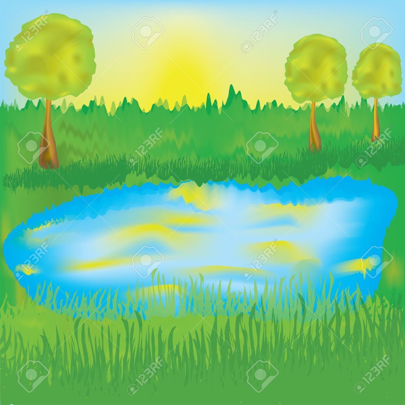 Landscape With Lake, Sunrise, Meadow,trees Royalty Free Cliparts.