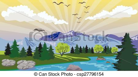 Clipart Vector of Beauty landscape with sunrise under lake and.