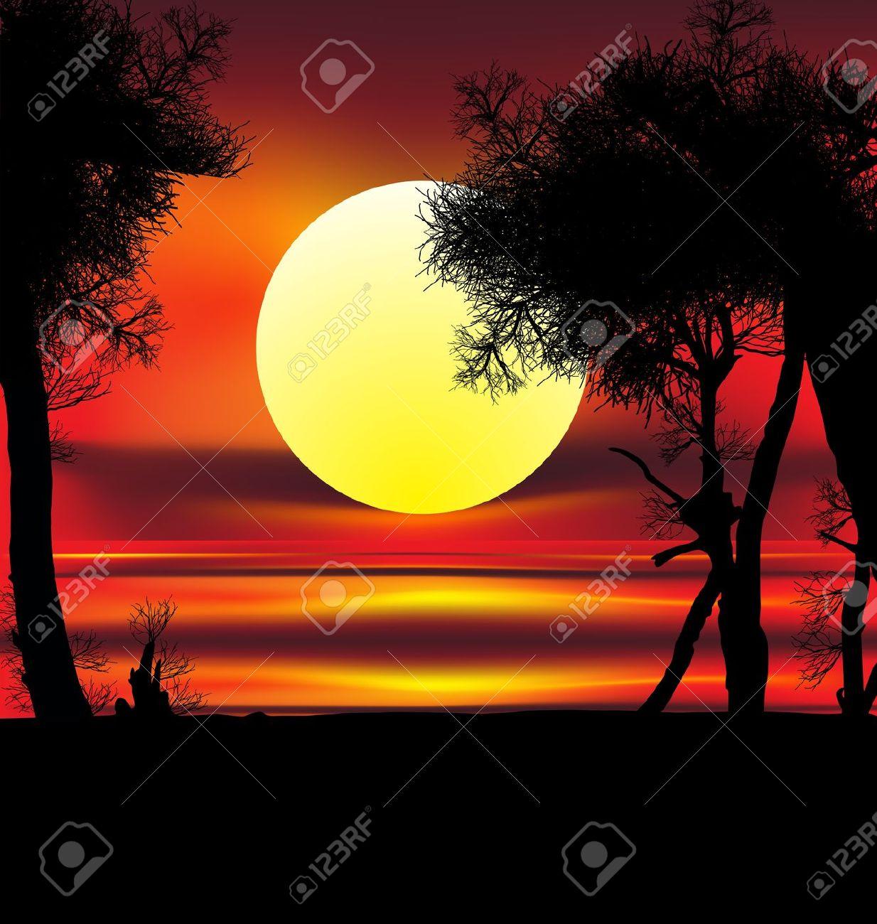 Beautiful African Sunrise Reflected On Lake, With Backlit Acacia.