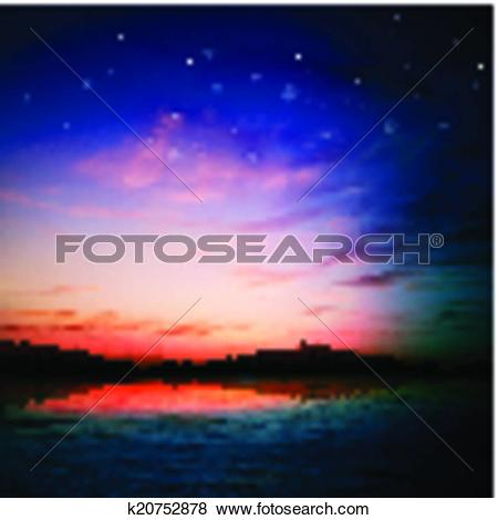 Clip Art of abstract nature background with forest lake and.