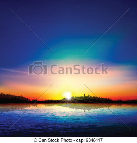 Vector Clip Art of abstract nature background with forest lake and.