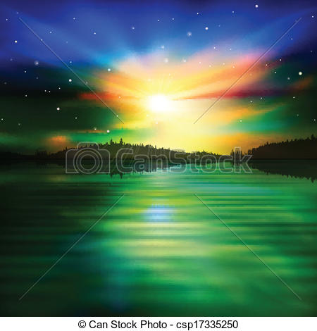 Clipart Vector of abstract background with forest lake and sunrise.