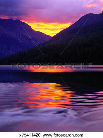 Stock Photography of USA, Montana, Glacier National Park, Kintla.
