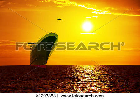 Clipart of Ship on sunrise sea k12978581.
