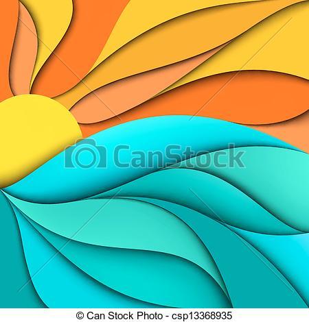 Vectors of Sunset. Sunrise. Sea waves background.
