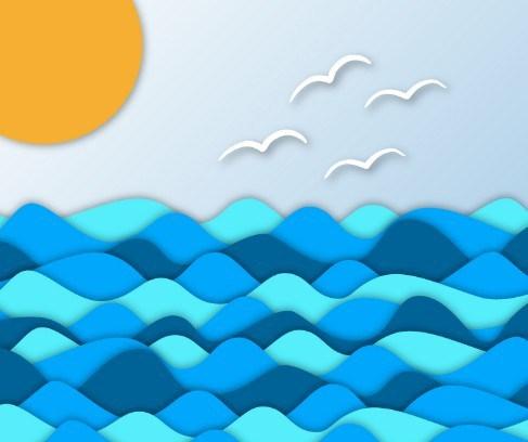 Free Blue Sea Sunrise Vector Clipart.