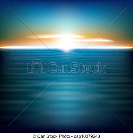 EPS Vector of abstract background with sea sunrise and clouds.