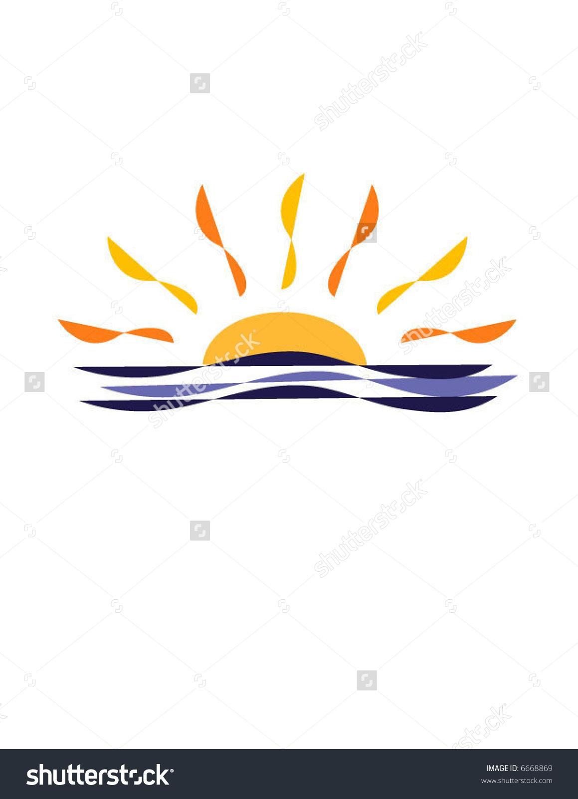 Sunset Sunrise Over Ocean Stock Vector 6668869.