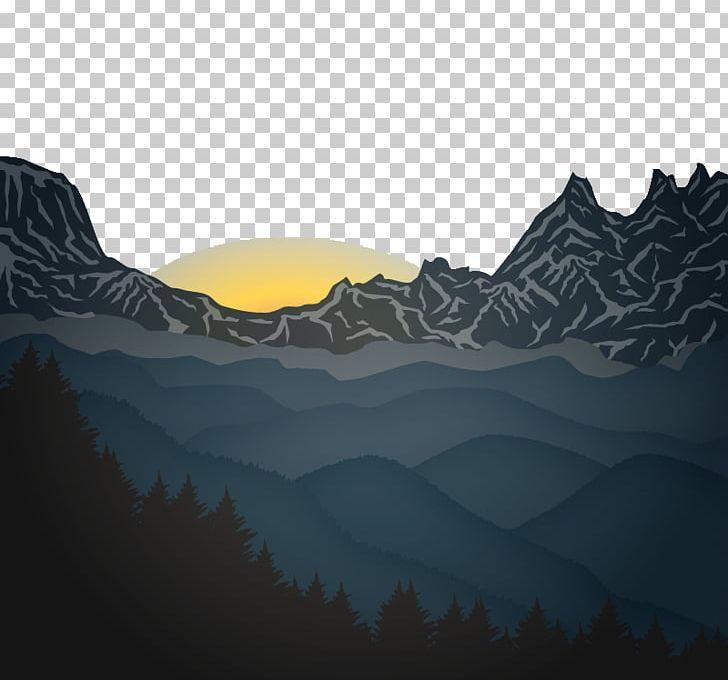 Sunrise Mountain Euclidean PNG, Clipart, Computer Wallpaper.