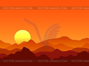 Red desert mountains vector illustration.