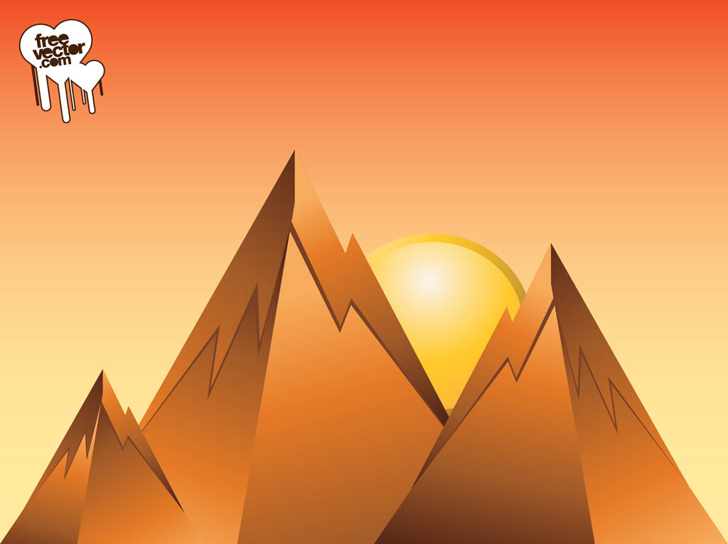 Mountain Sunrise Design Vector Art & Graphics.