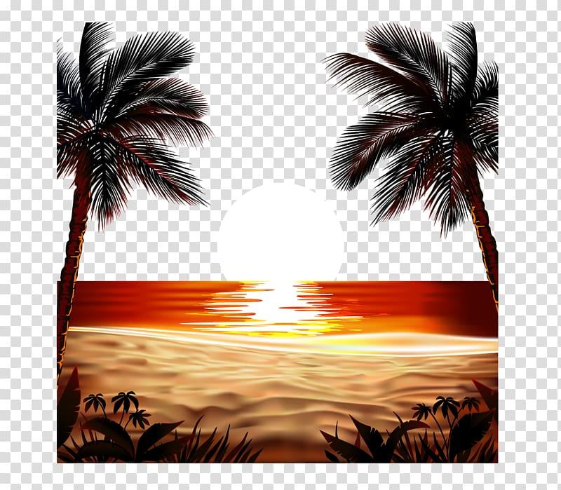 Sunset on beach illustration, Euclidean Sunrise field.