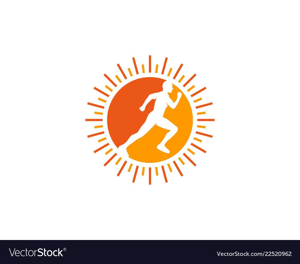 Sun run logo icon design.