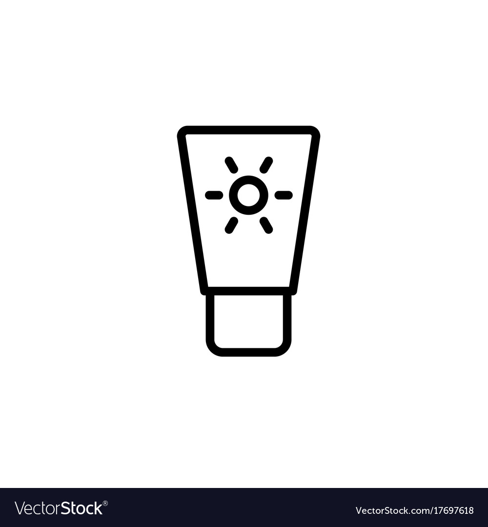 Sunscreen icon thin line black on white background.