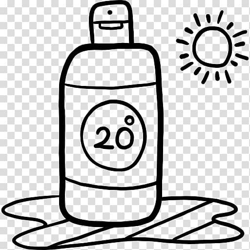 Sunscreen Lotion Black and white Cream , hand drawn sun.