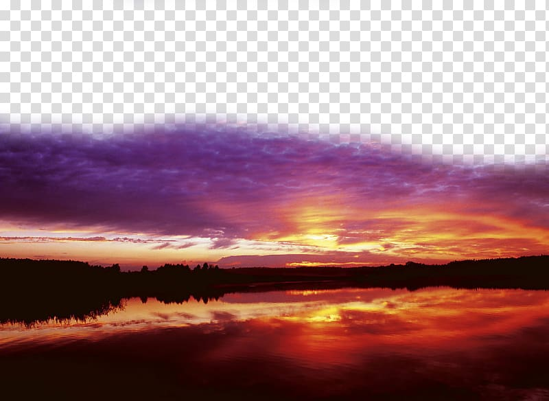 Lake and trees, Sunset Cloud, Sunset and sunset glow.