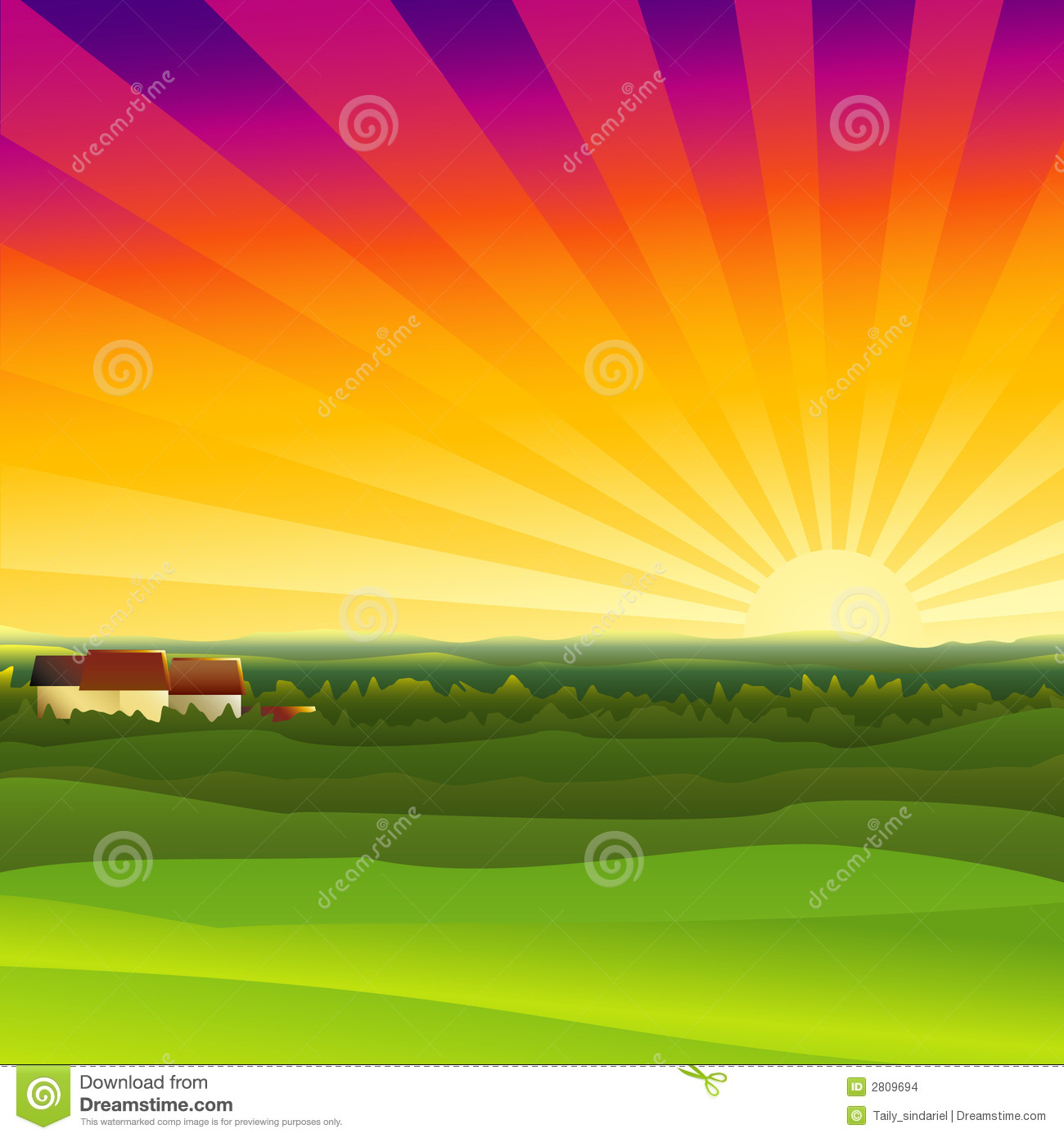 Animated Sunset Clipart.