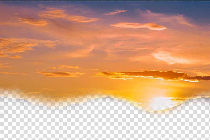 Sunset illustration, Sky Cloud Sunset Dusk, Yellow sky.