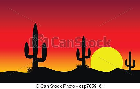Vector Clip Art of Desert sunset with cactus plants.