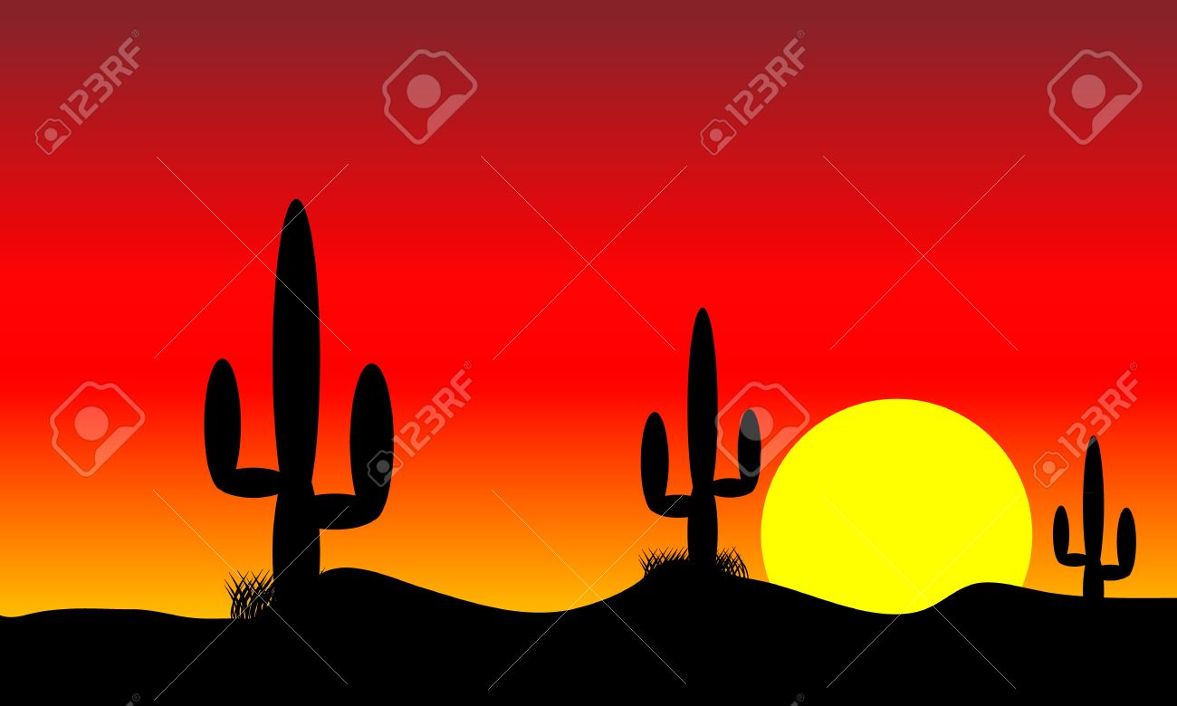 Animated rv in the desert with sunset in background clipart.