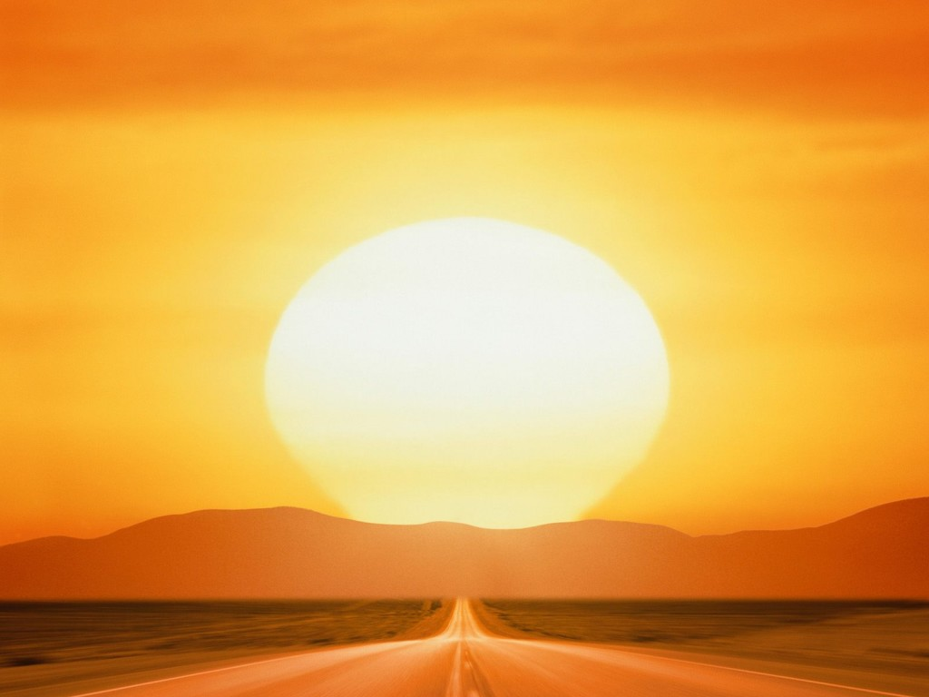 Road sunset clipart.