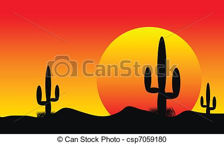 Vector Clipart of Desert sunset with cactus plants.