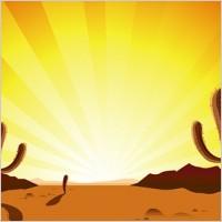 Sunset Over Desert Clip Art.