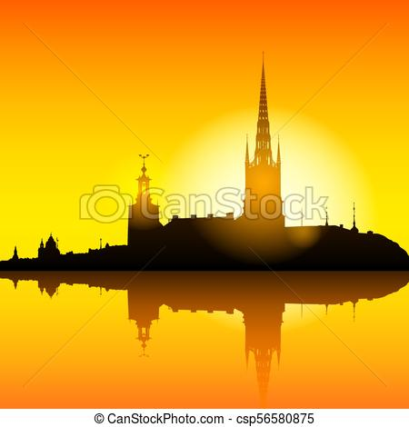 Stockholm skyline sunset background illustration.